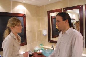Julia Wakeman as Katya and Liam O Mochain as Jack in WC